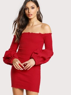 Off Shoulder Volume Sleeve Dress RED
