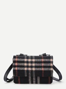 Gingham Print Shoulder Bag With Adjustable Strap