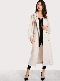 Gun Flap Detail Bishop Sleeve Trench Coat