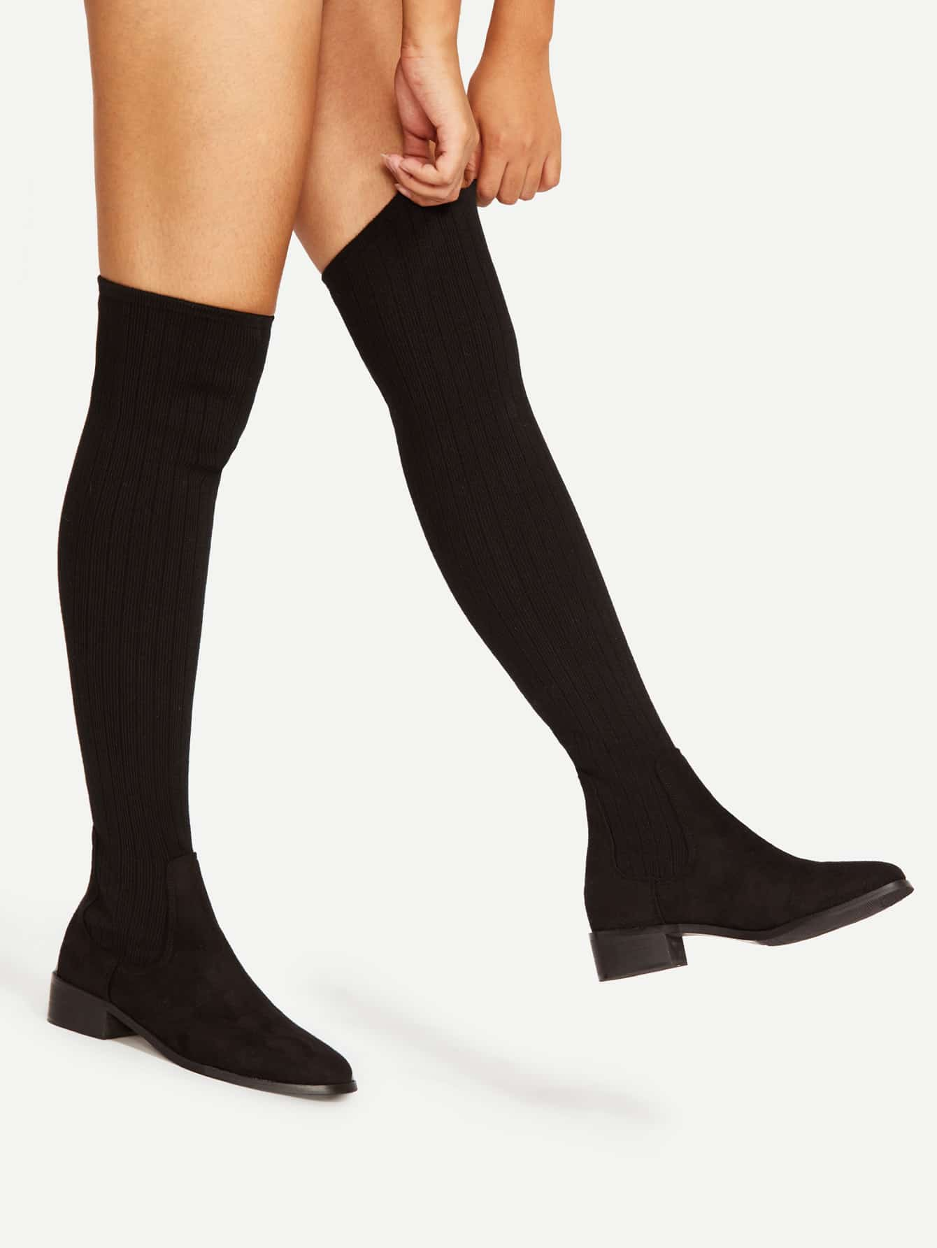 Almond Toe Over Knee Sock Boots Shein Sheinside