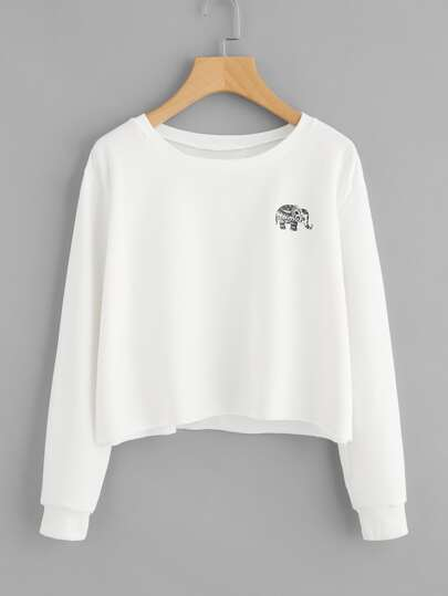 Elephant Print Raw Hem Sweatshirt