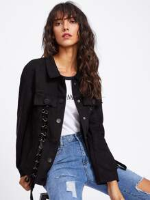 Grommet Lace Up Jacket