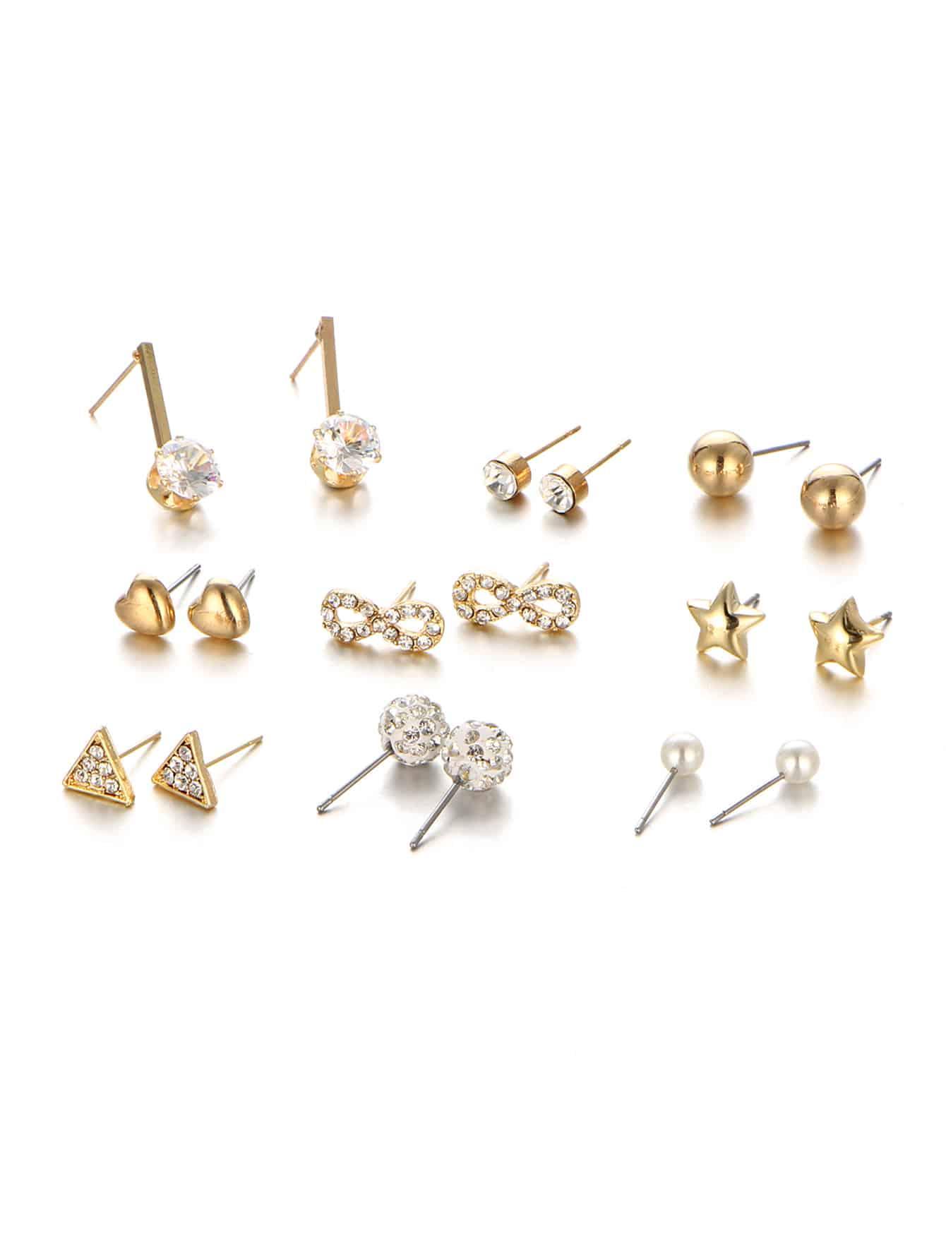 Star & Heart Design Stud Earring Set