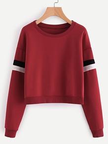 Sweat-shirt avec manche rayure bicolore