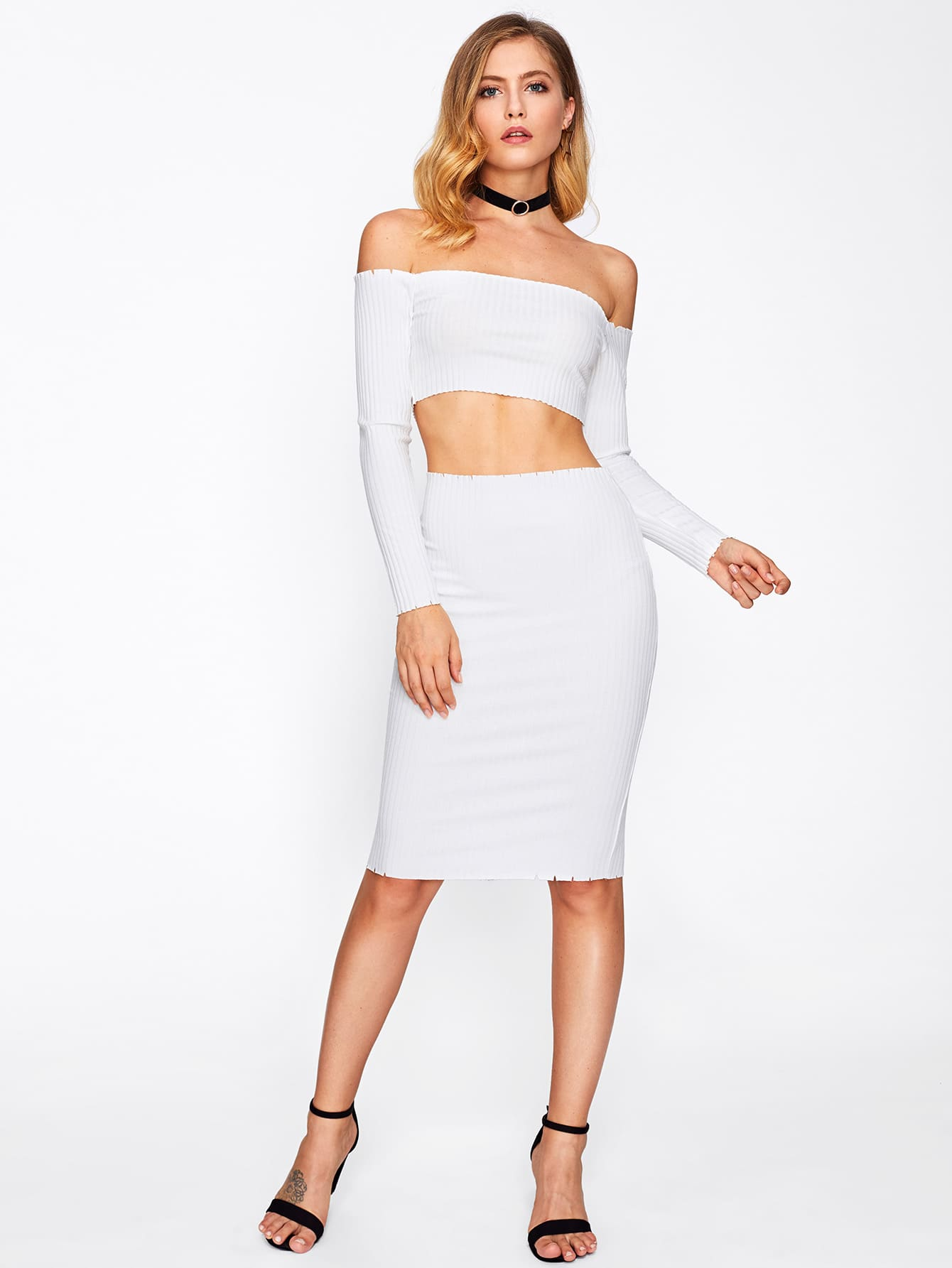 Off Shoulder Crop Top With Pencil Skirt faux suede crop top and pencil skirt