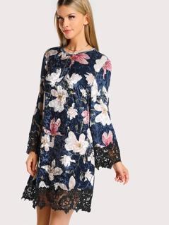 Contrast Lace Hem Floral Crushed Velvet Dress