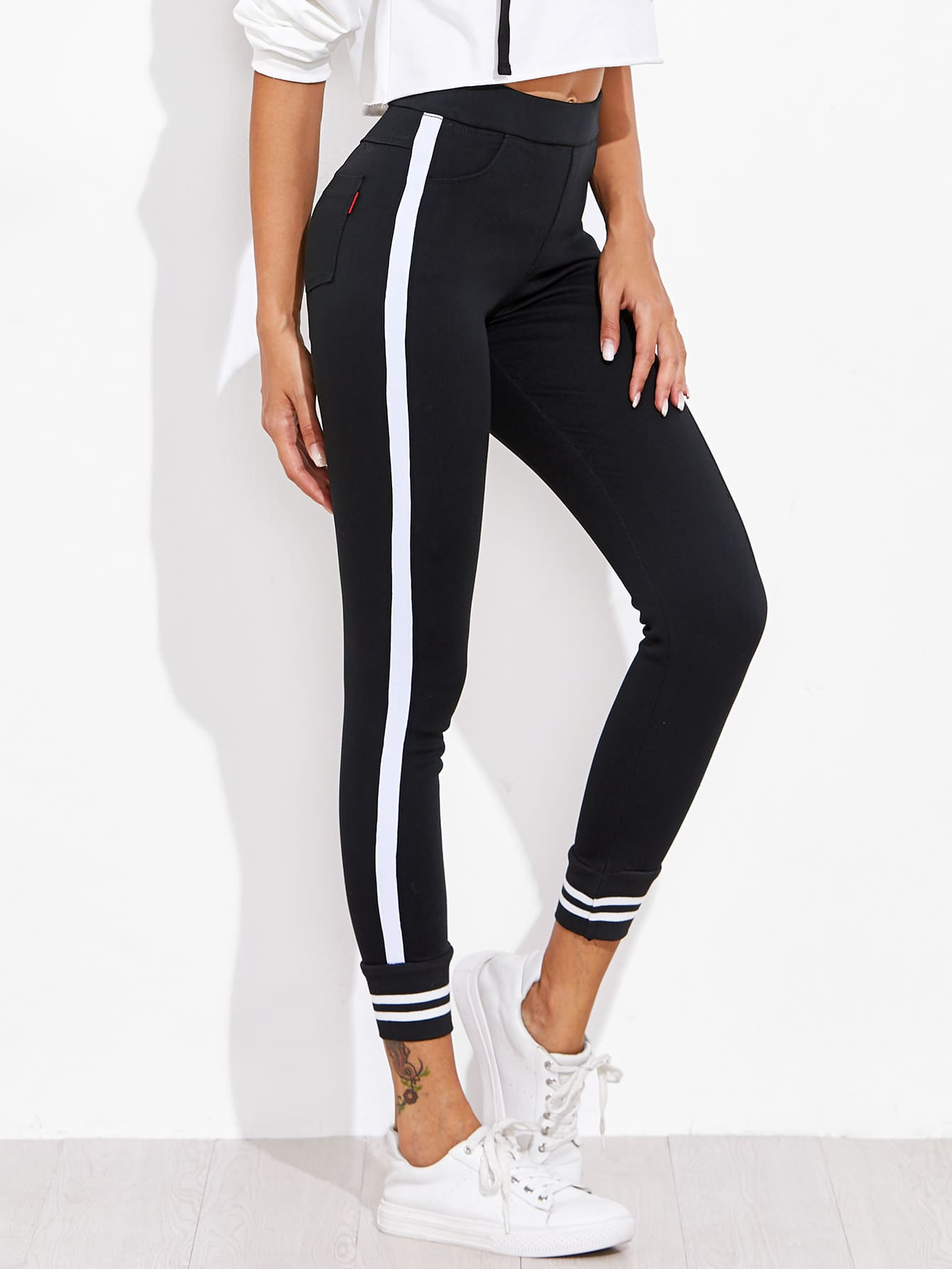 Contrast Striped Sport Leggings Pants