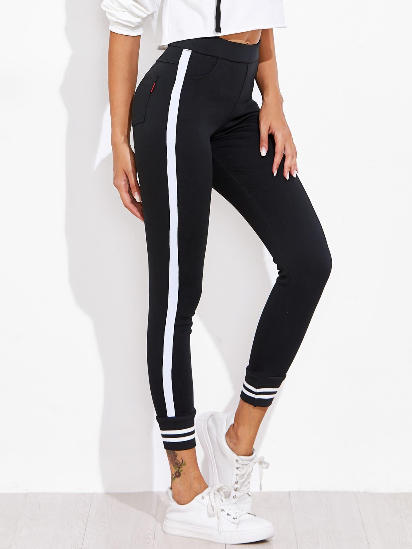 Image of Contrast Striped Sport Leggings Pants