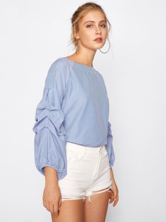 Puff Sleeve Drop Shoulder Seam Top
