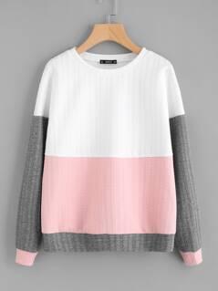 Cut And Sew Textured Sweatshirt