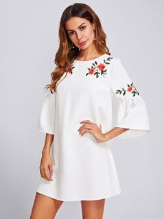 Trumpet Sleeve Flower Embroidered Dress