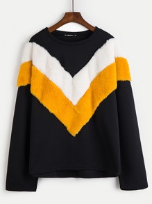 Cut And Sew Faux Fur Panel Sweatshirt