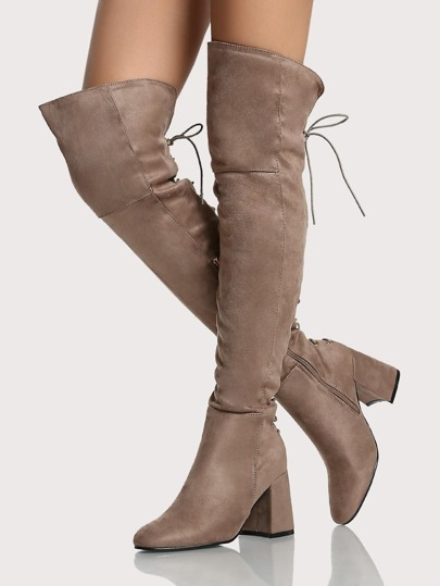 Lace Up Chunky Heel Thigh High Boots TAUPE