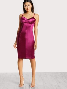 Bustier Inspired Satin Bodycon Dress PLUM