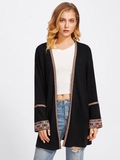 Embroidery Tape Open Front Coat