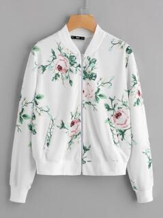 Botanical Print Pocket Bomber Jacket
