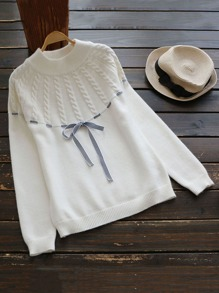 Cable Knit Striped Tape Detail Jumper