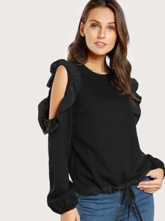 Cold Shoulder Ruffle Hem Drawstring Sweatshirt BLACK