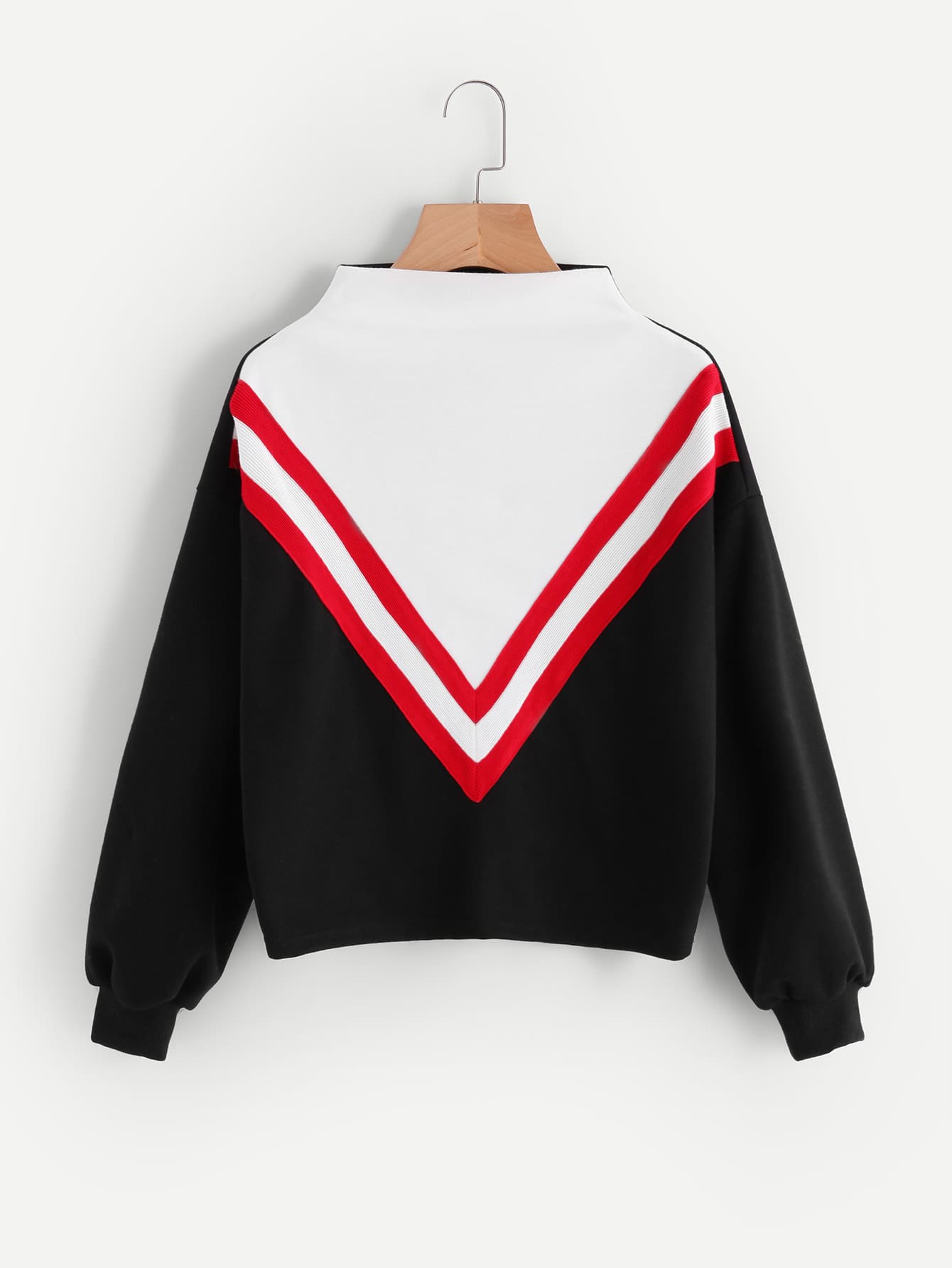 Mock Neck Cut And Sew Sweatshirt mock collar sweatshirt cut out top white