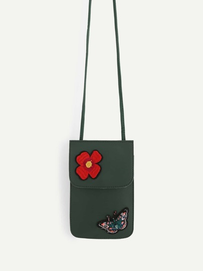 Flower & Butterfly Appliques PU Pouch Bag