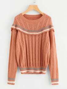 Striped Ruffle Trim Textured Jumper