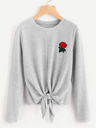 Rose Embroidered Patch Knot Front T-shirt