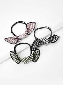 Knot Gingham Hair Tie 3pcs