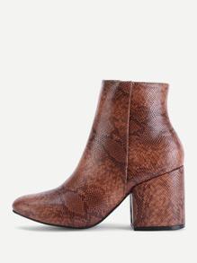 Snakeskin Print PU Block Heeled Boots