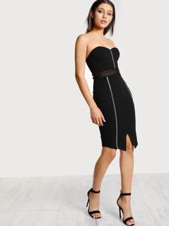 Diamond Embellished Mesh Cutout Strapless Bodycon Dress BLACK
