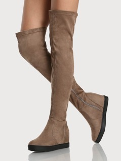 Flat Sole Zip Up OTK Boots TAUPE