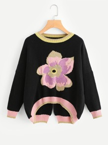 Flower Pattern Slit Back Dip Hem Jumper