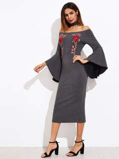 Embroidered Patch Bell Sleeve Ribbed Dress