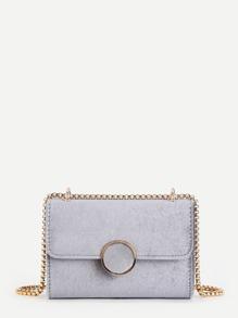 Round Button Velvet Flap Crossbody Bag