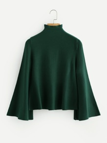 Mock Neck Flare Sleeve Jersey Jumper
