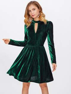 Double Keyhole Velvet Dress