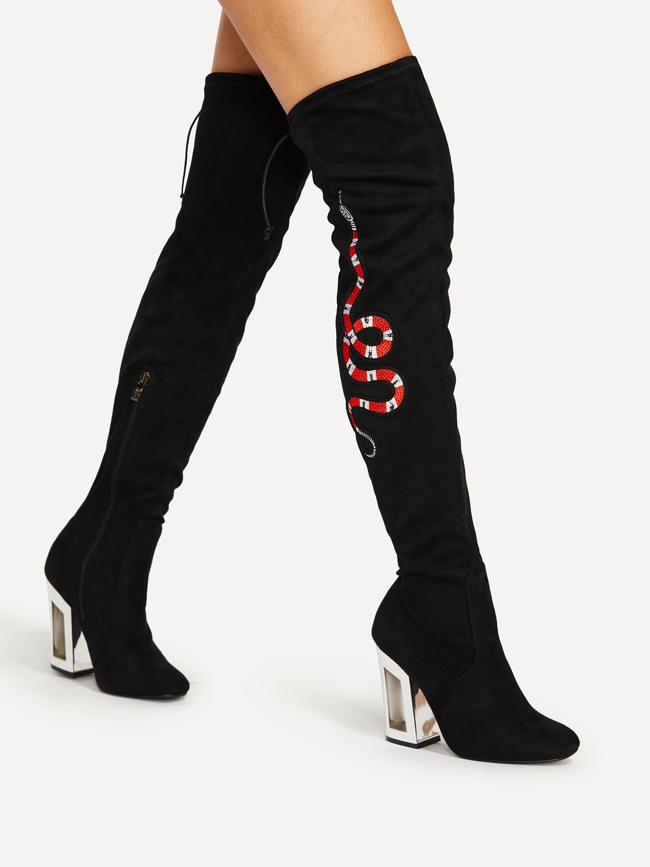 Snake Embroidery Lace Up Back Over Knee Boots shoes17080517