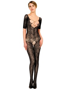 Criss Cross Lace Crotchless Bodystocking