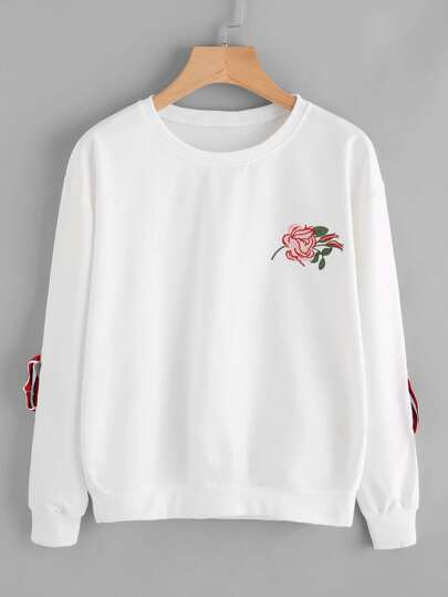 Rose Embroidered Patch Strap Ring Detail Sweatshirt
