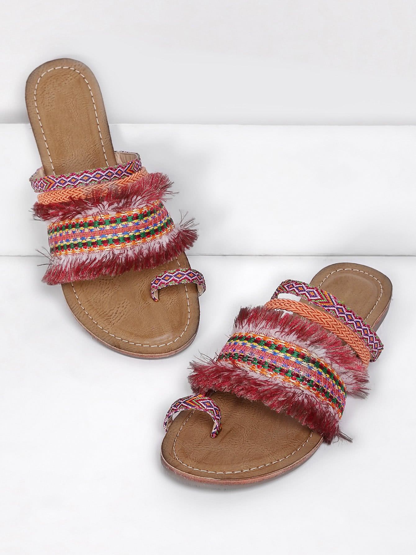 Fringe Trim Toe Ring Flat Sandals