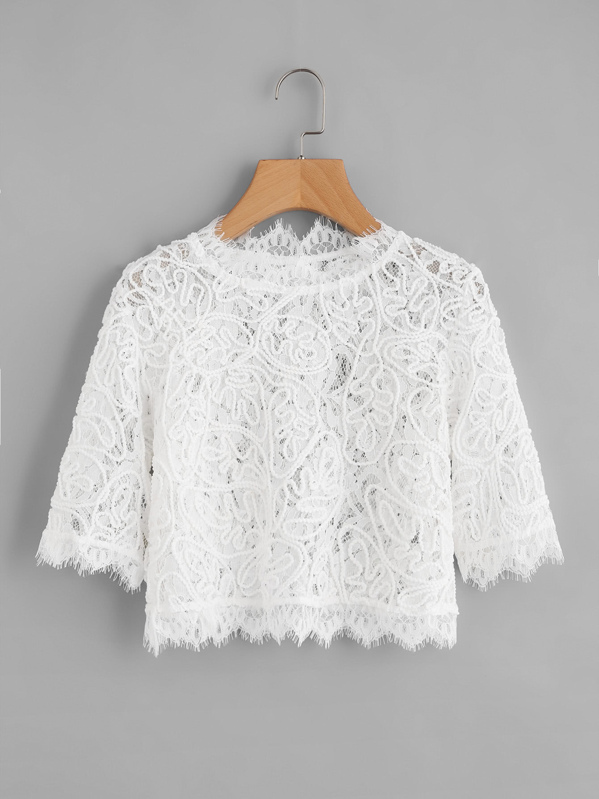 Semi Sheer Eyelash Lace Crop Top, null