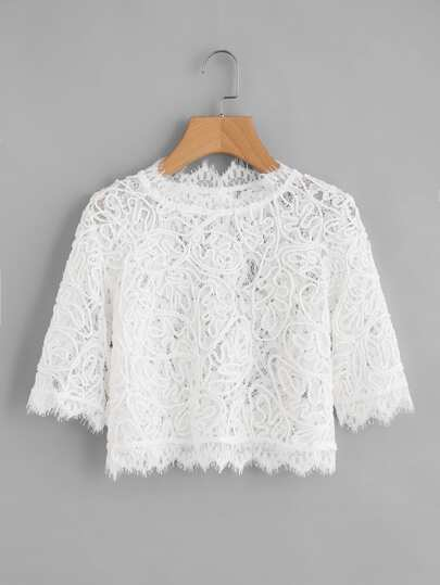 Hollow Out Eyelash Lace Crop Top
