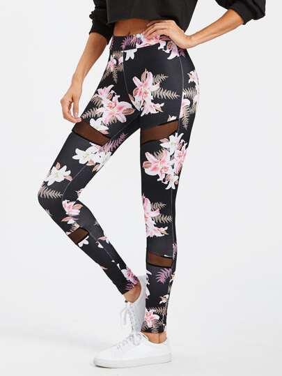 Mesh Insert Florals Leggings