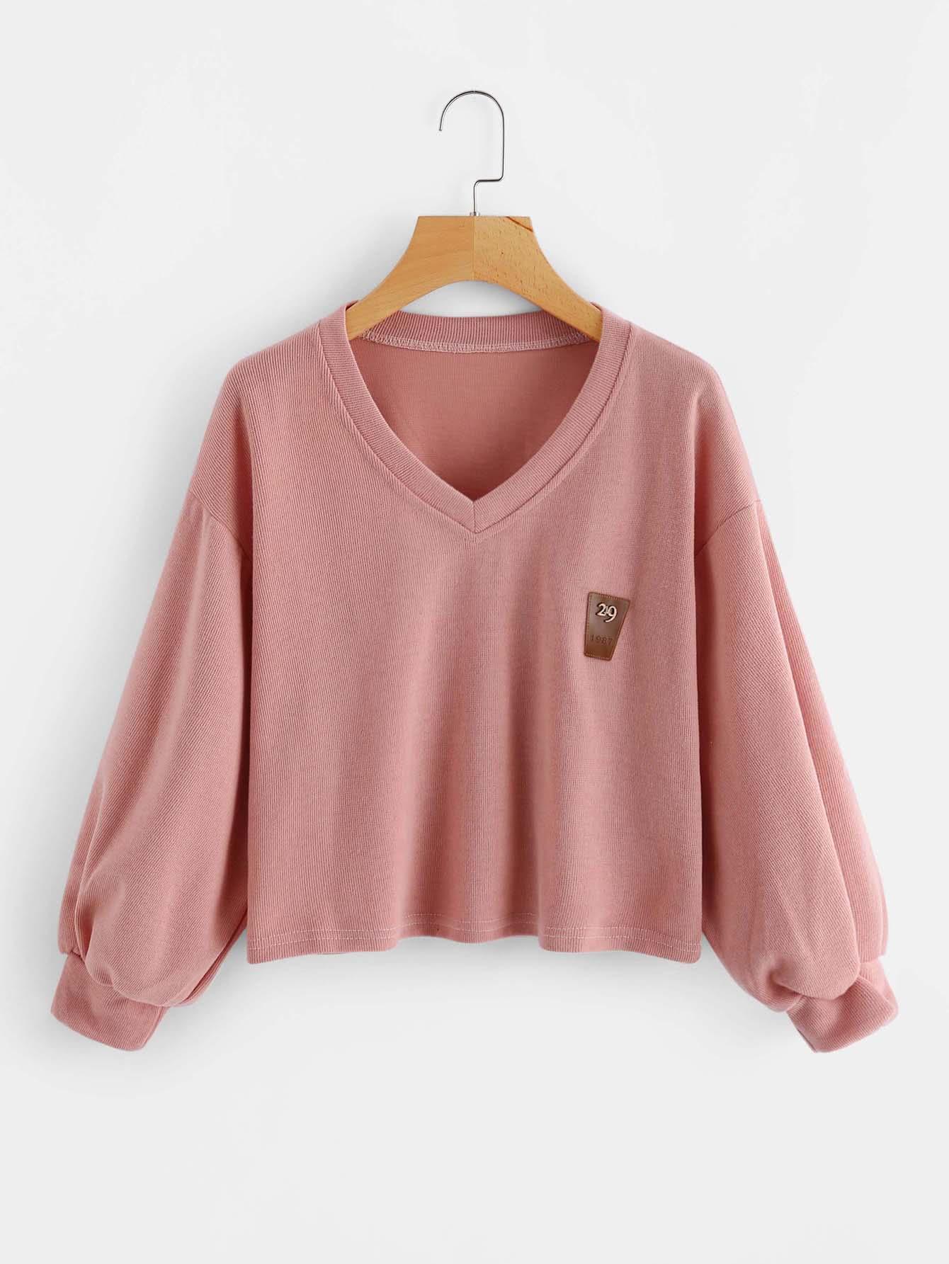 V Neckline Lantern Sleeve Patch Sweatshirt drop shoulder lantern sleeve sweatshirt
