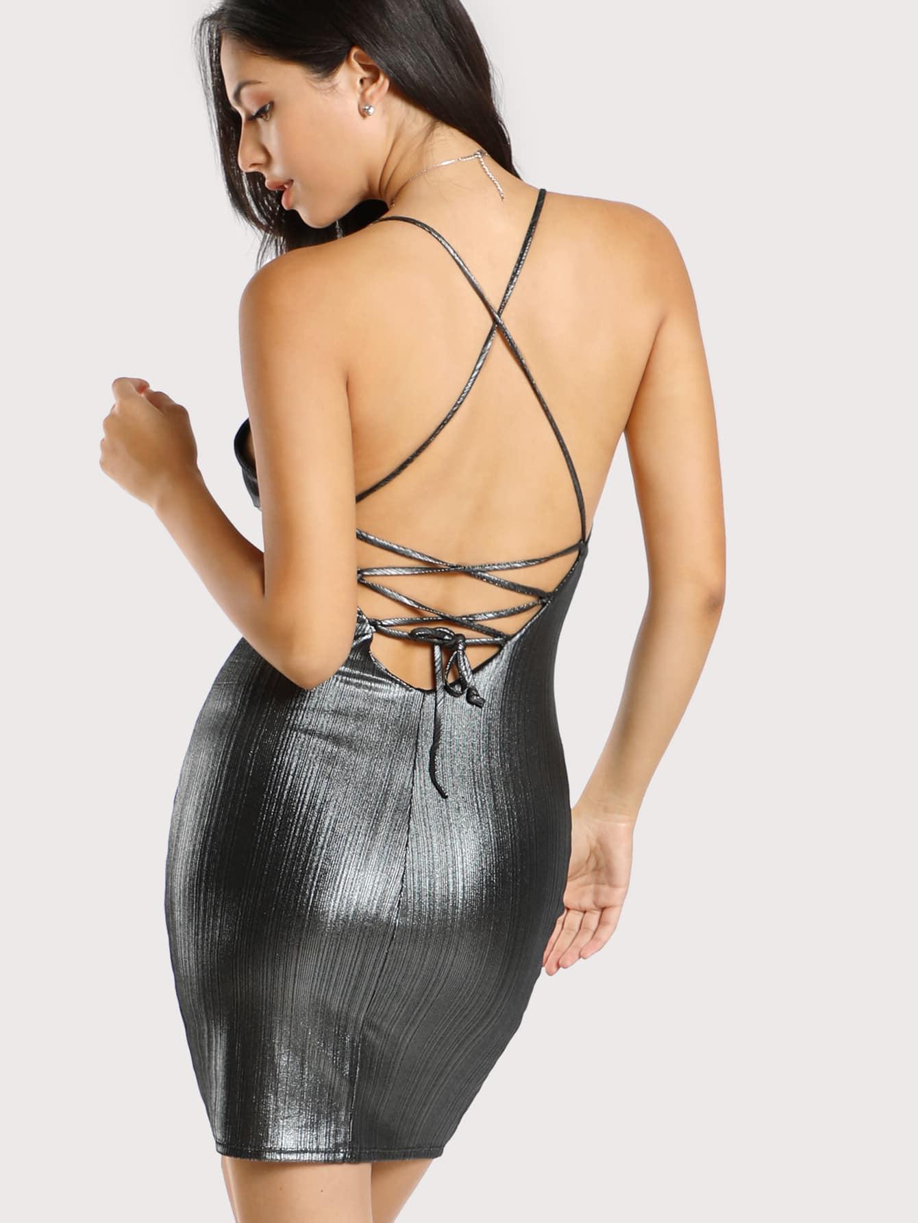 Spaghetti Strap Lace Up Metallic Dress