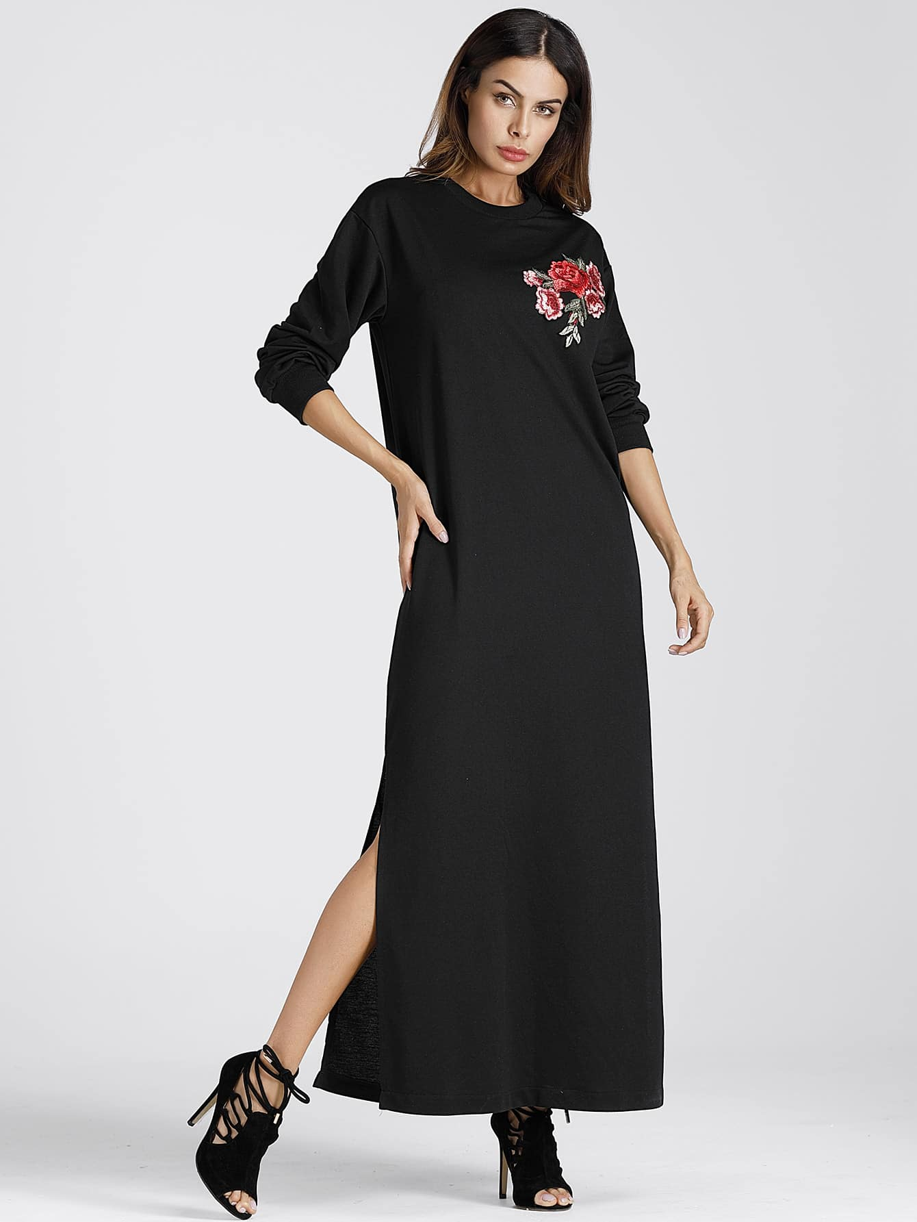 Split Side Applique Longline Hoodie Dress dress170918134