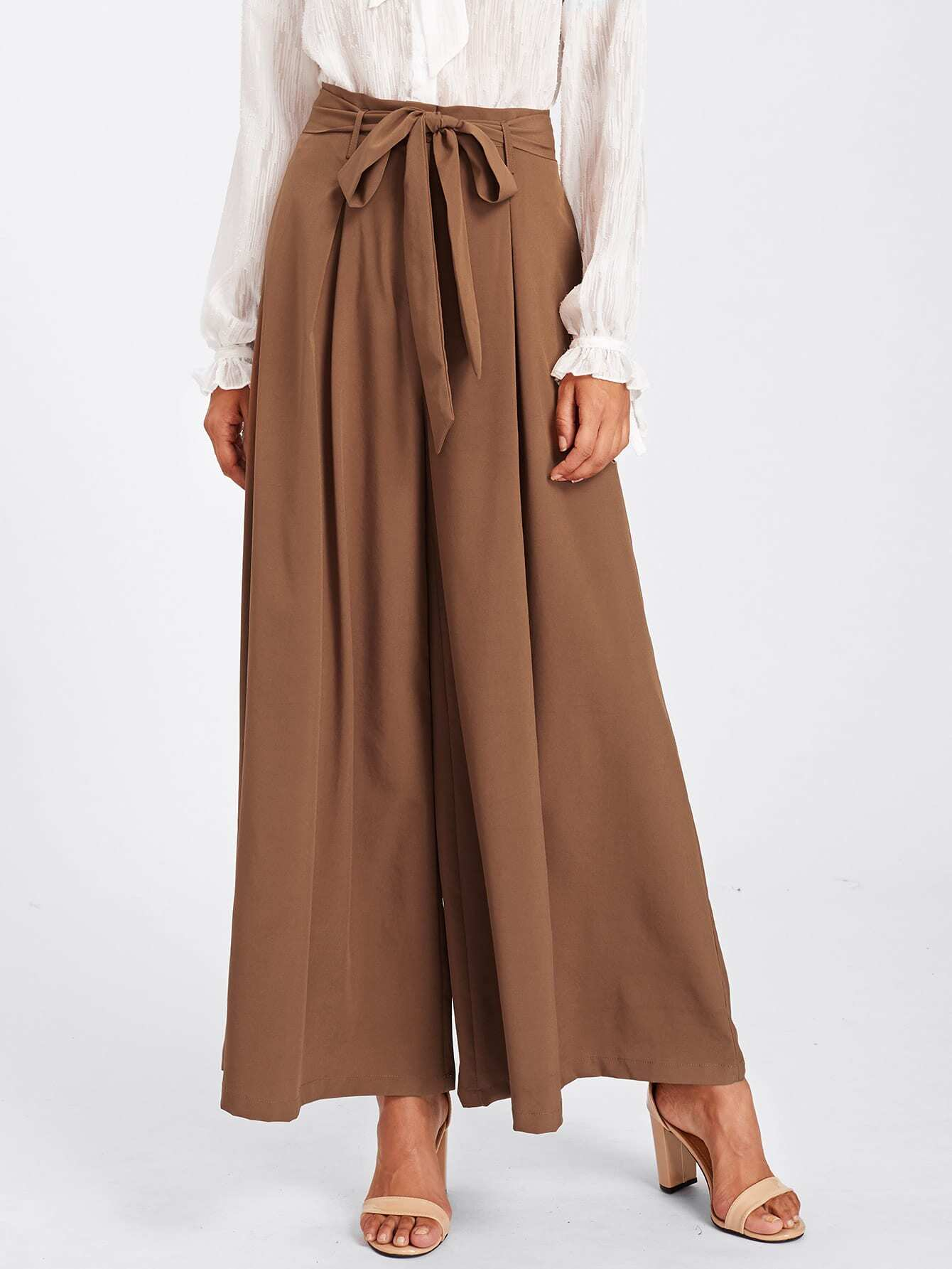 Image of Self Belted Skirt Palazzo Pants