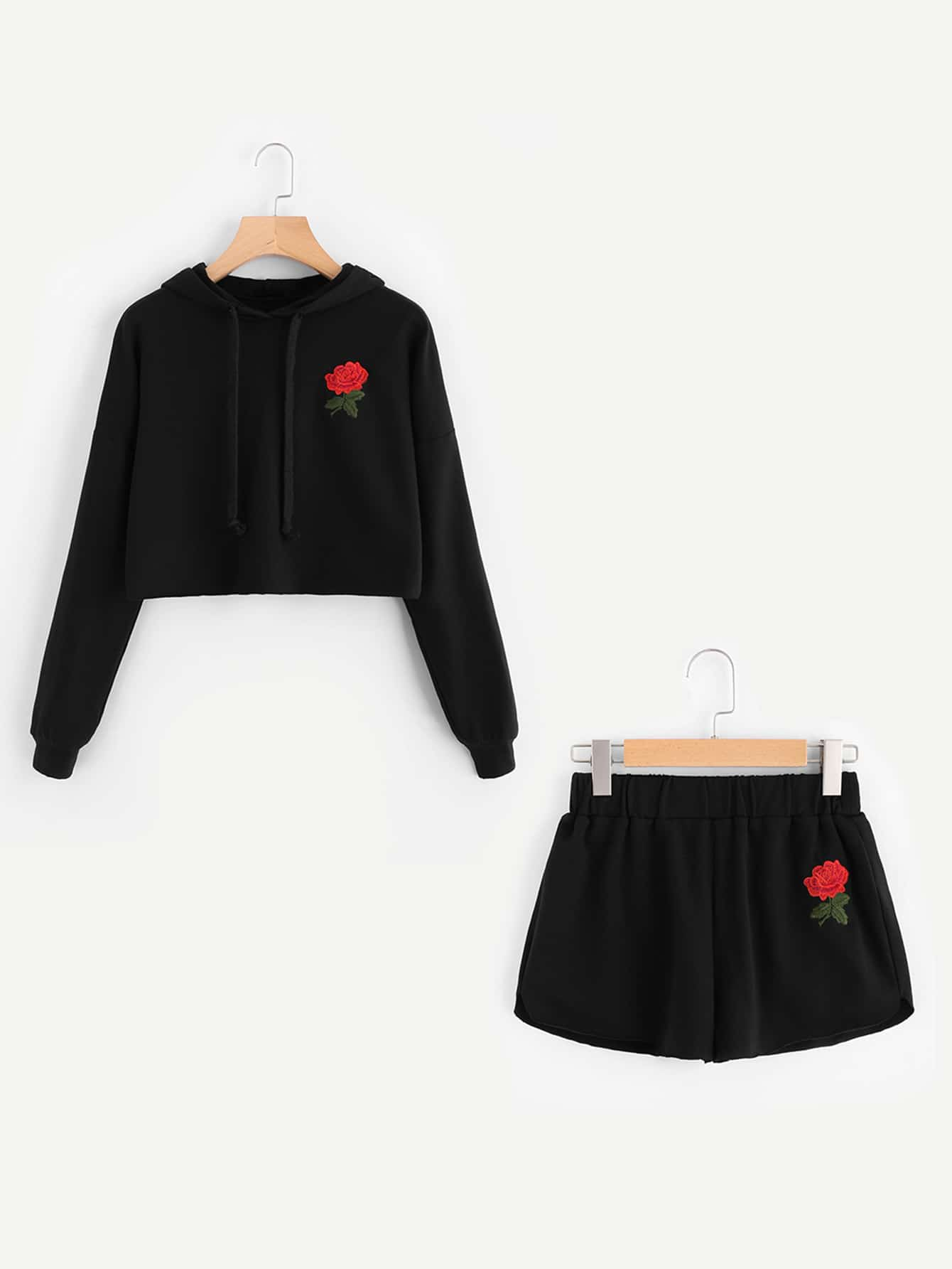 Rose Embroidered Hoodie And Shorts Set mother and daugther summer girls set embroidered blouse and butterfly embroidered shorts 2 pcs suit brand clothing high quality