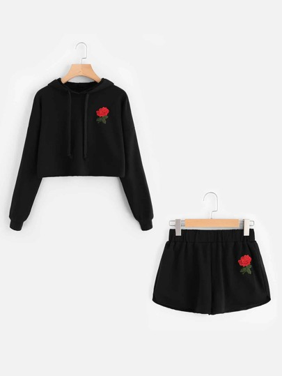 Rose Embroidered Hoodie And Shorts Set