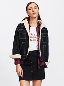 Topstitch Denim Contrast Faux Shearling Jacket