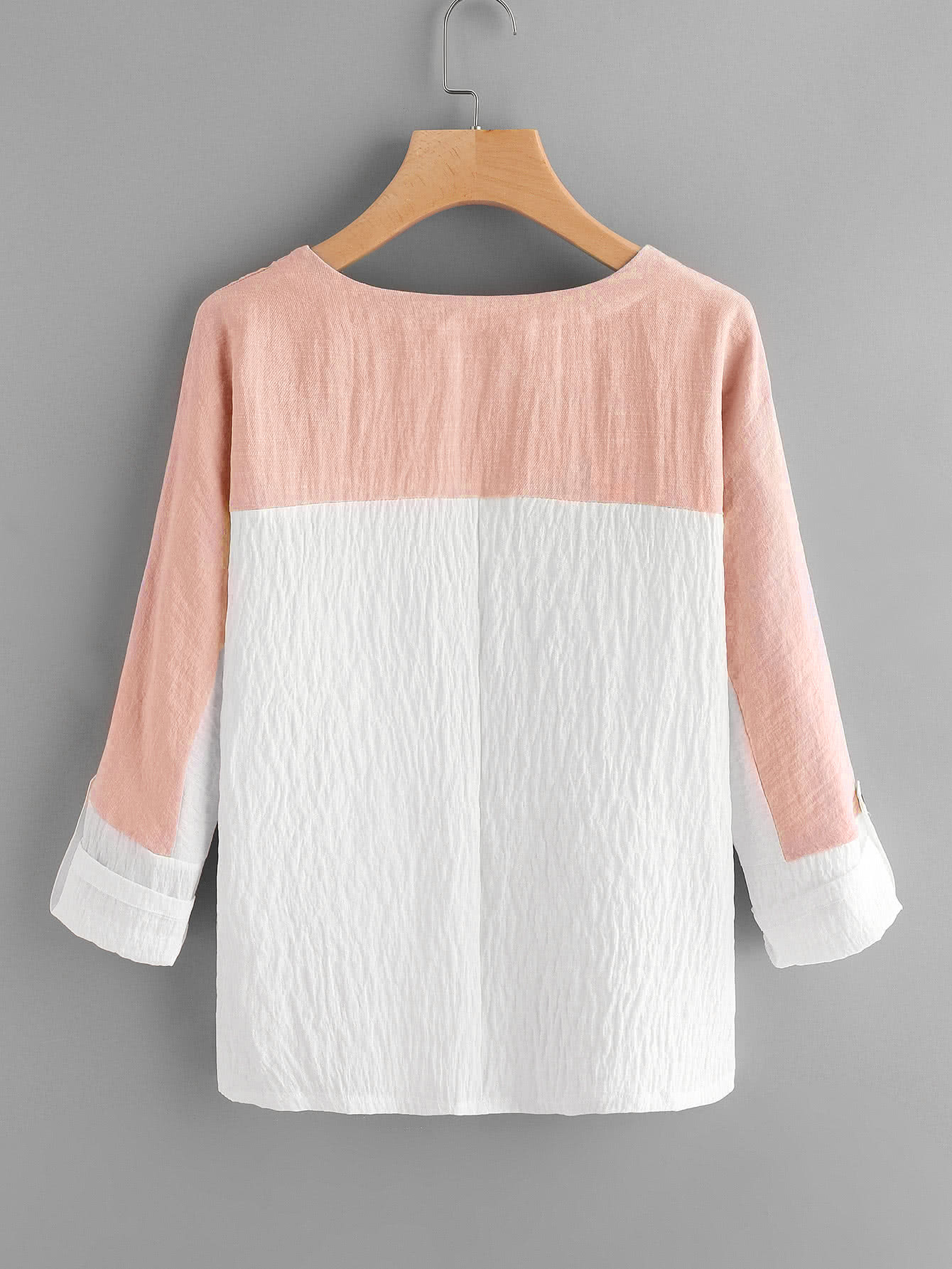 Two Tone Rolled Sleeve Blouse